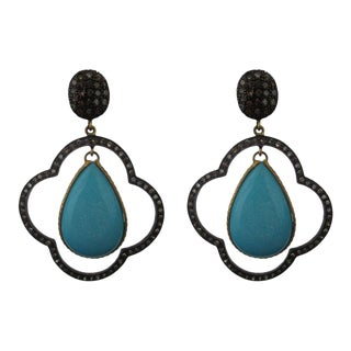 Moroccan Inspired Sterling Silver Diamond and Turquoise Earrings For Sale