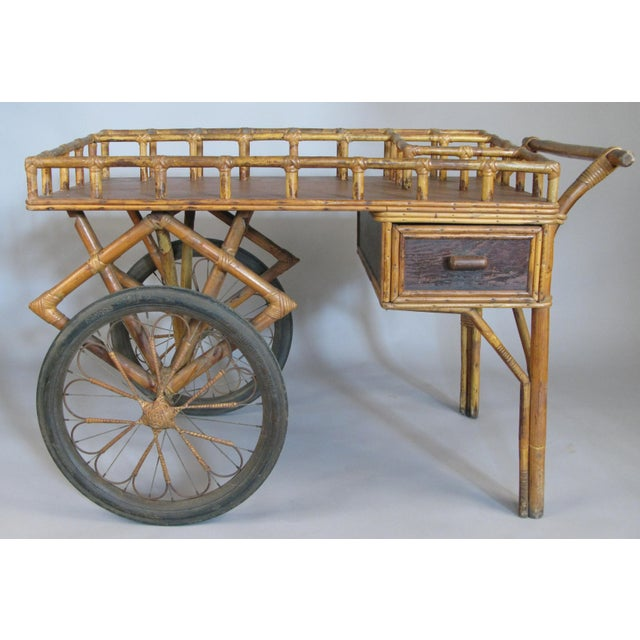 Antique 1920s Rattan and Wicker Bar Cart For Sale - Image 9 of 9