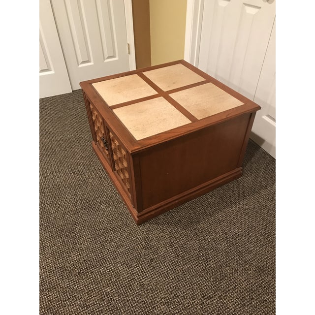 Mid-Century Modern Travertine Inlay Storage Table For Sale In Washington DC - Image 6 of 10