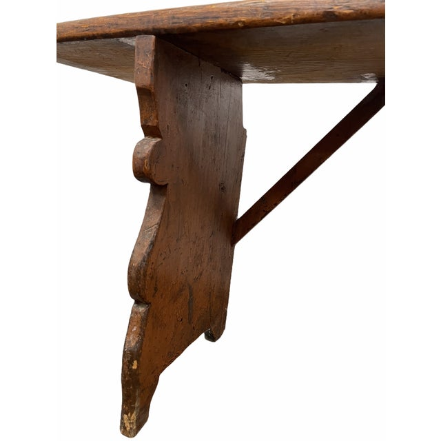 Tan Early 20th Century Vintage Country Farmhouse Wood Bench For Sale - Image 8 of 11