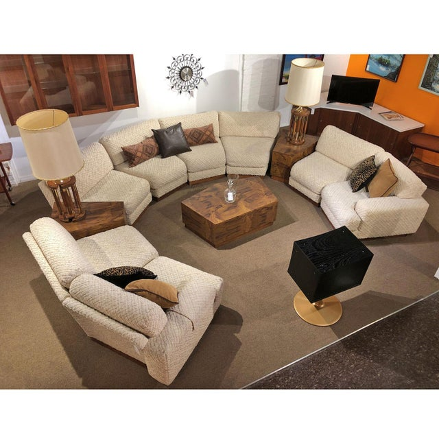 Milo Baughman Style 11-Piece Modern Curved Sectional Sofa Couch ...