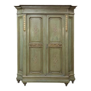 Antique Italian Neoclassical Painted Armoire For Sale