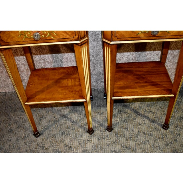 Antique French Satinwood Side Tables with Painted Designs - a Pair For Sale - Image 4 of 13