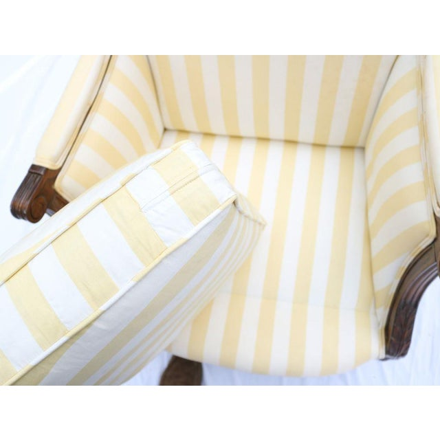 Louis XVI Style Striped Upholstery Walnut Bergère - Image 11 of 11