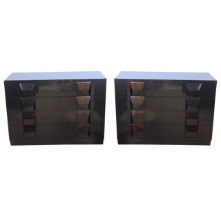 Italian Modern Black Lacquered Nightstands, Poltronova, 1960's For Sale