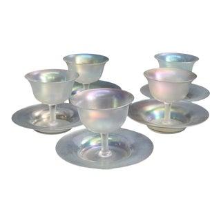 1930s Steuben Art Glass Stemmed Sherbet Goblets with Saucers - Set of 5 For Sale