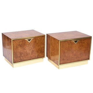 Pair of American Modern Burl Walnut and Brass End Tables For Sale