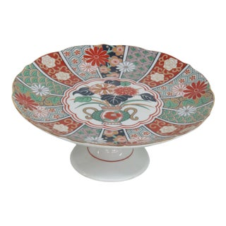 Arita Imari Fan Japanese Fine China Pedestal Cake Stand Plate For Sale
