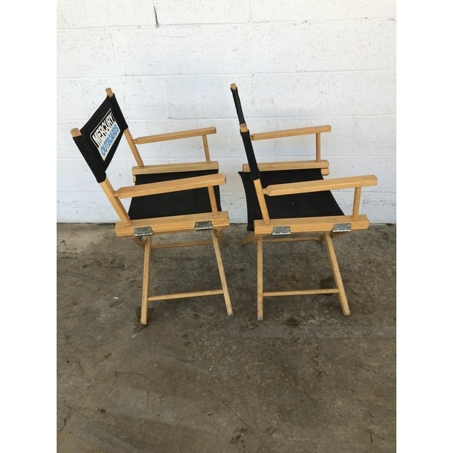 Vintage Wood Folding Director Chairs With Mercury Outboard Advertising - a Pair For Sale - Image 10 of 13