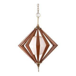 Mid Century Danish Modern Teak Diamond Cage Chandelier