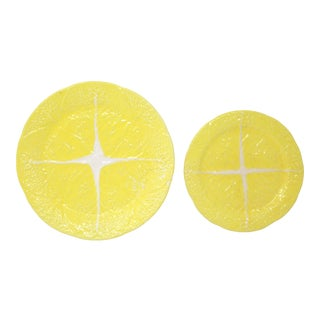Vintage Yellow Cabbageware Plates by Secla - Set of 2 For Sale