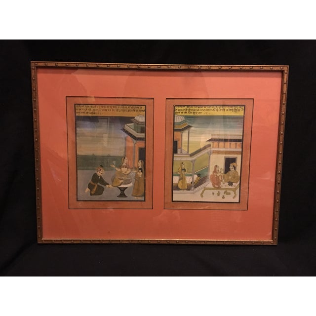 19th Century Mughal Framed Diptych Painting - Image 3 of 7