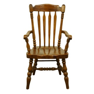 1970s Vintage Thomasville Furniture Pine Manor Rustic Country Style Dining Arm Chair For Sale