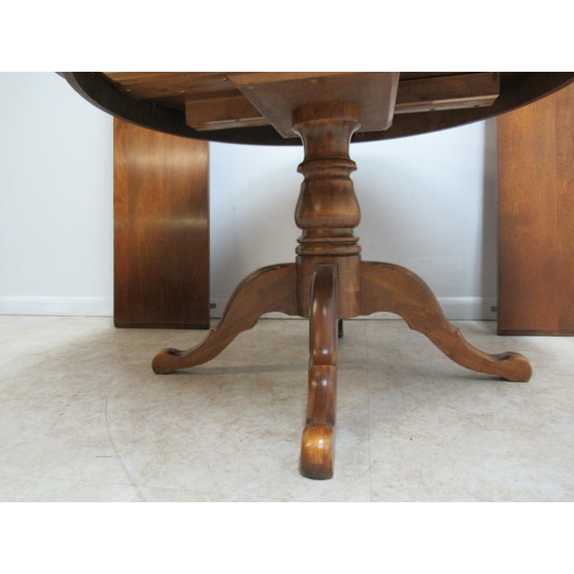 Ethan Allen French Country Ethan Allen Pedestal Dining Room Table For Sale - Image 4 of 12
