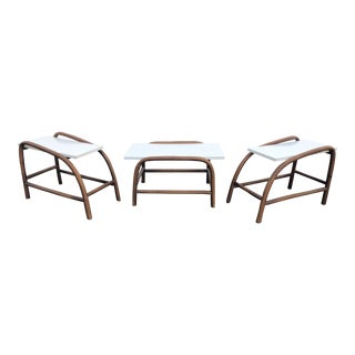 Vintage Boho Chic Bamboo Table Set With White Laminate Tops - 3 Pieces For Sale