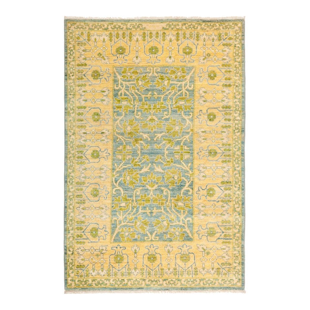"""Eclectic Hand Knotted Area Rug - 4' 1"""" X 6' 2"""" - Image 1 of 4"""