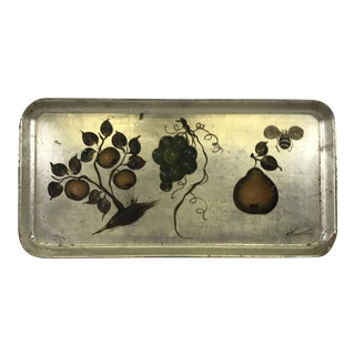 Hand Painted Silvered Paper Mache Tray For Sale