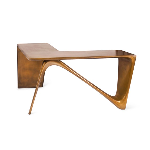 Gold Amorph Astra Desk, L Shaped Desk Gold Finish For Sale - Image 8 of 8