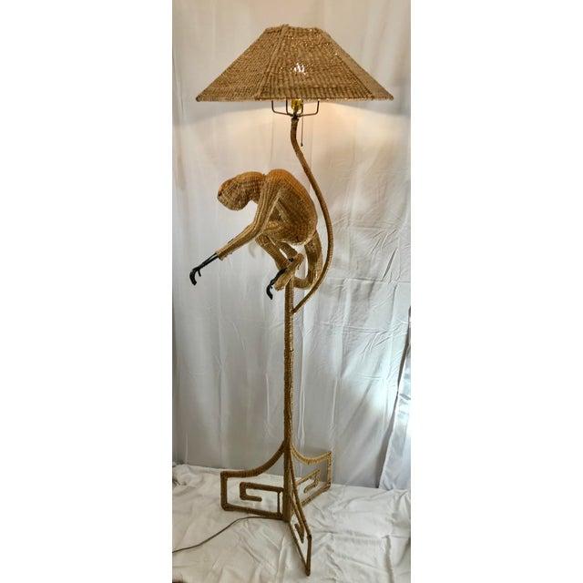 Wicker 1970s Mario Lopez Torres Mid-Century Wicker Monkey Floor Lamp For Sale - Image 7 of 13