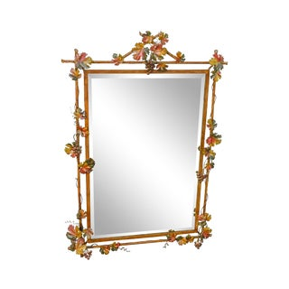 LaBarge Italian Painted Tole Metal Grapevine Beveled Wall Mirror For Sale