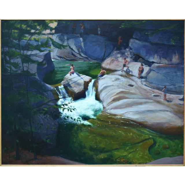 Upper Falls Swimming Hole in Vermont Contemporary Painting by Stephen Remick For Sale