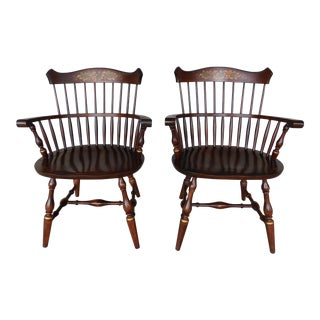 L. Hitchcock New London Fan Back Windsor Style Stenciled Arm Chairs-A Pair For Sale