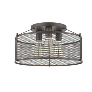 Sheffield 3 Light Semi-Flush Ceiling, Oiled Bronze For Sale