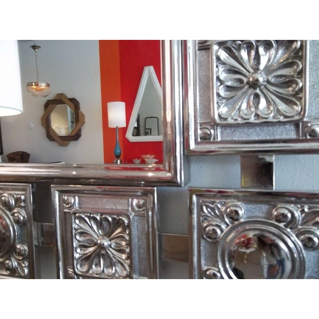 Mid Century Modern Nickeled Silver Wall Mirror For Sale - Image 4 of 6