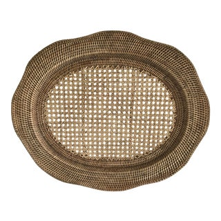 Large Cane Wicket Serving Tray