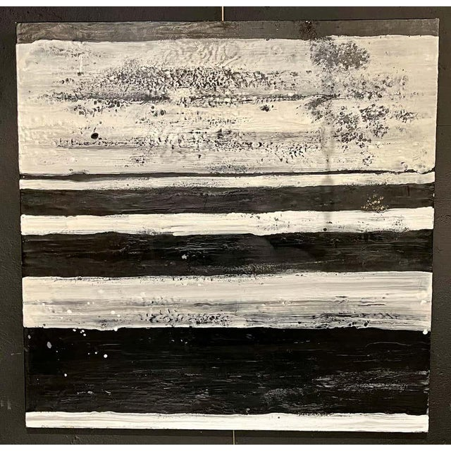 "Lynn Basa encaustic black and white stripe panel ""The Speckled Band"" signed and dated. Oil / beeswax on board. This is..."