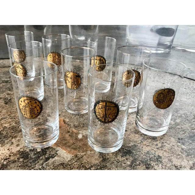 Mid-Century Modern Mid-Century Gold Zodiacal Characters Glassware, Italy 1960s - Set of 8 For Sale - Image 3 of 10