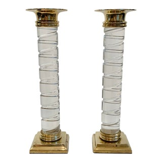 1980s Lucite & Brass Candlesticks - a Pair For Sale