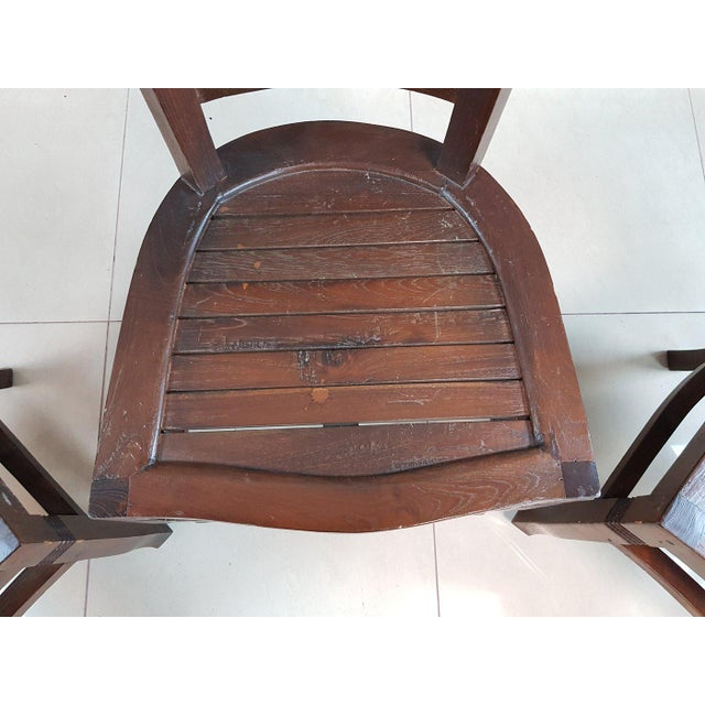 Vintage Wood Colonial Dining Set Table and 6 Chairs For Sale - Image 10 of 13