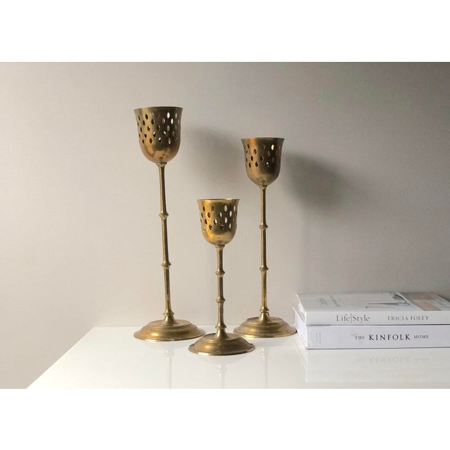 Metal Set of Three Tall Brass Candle Holder Set For Sale - Image 7 of 8