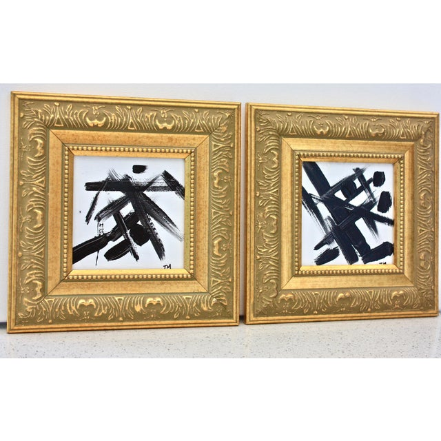 Black & White Abstract Paintings - A Pair - Image 2 of 5