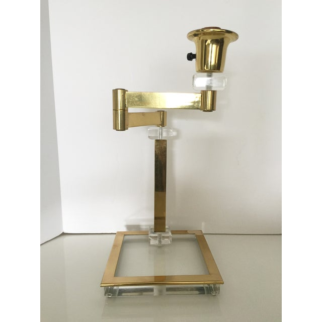 Vintage Italian Lucite and Brass Swing Arm Lamp - Image 3 of 5