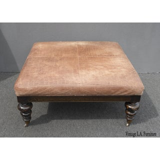 Vintage Sam Moore Brown Embossed Leather Carved Wood Foot Ottoman on Castors Preview