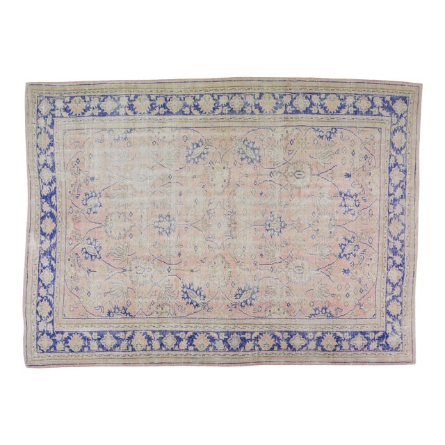 """Vintage Turkish Hand Knotted Whitewash Organic Wool Fine Weave Rug,7'9""""x10'6"""" For Sale"""