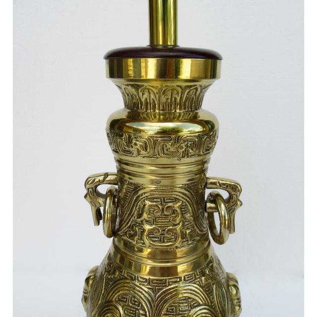 Metal C1950s-70s Hollywood Regency Era, James Mont-Style Asian Antique Bronze Lamp For Sale - Image 7 of 13
