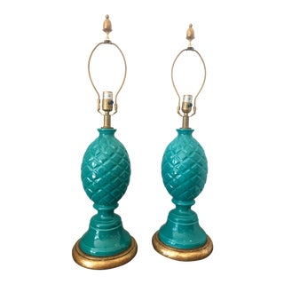 Italian Palm Beach Ceramic Teal Blue/Turquoise Pineapple Lamp - a Pair For Sale