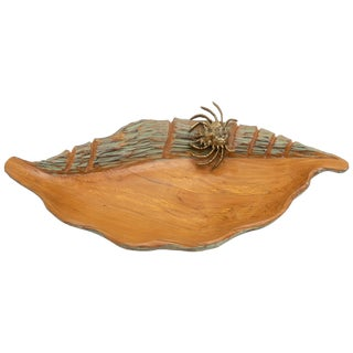 1950s Carved Wood Seashell Form Serving Dish by Aldo Tura for Macabo Cusano For Sale