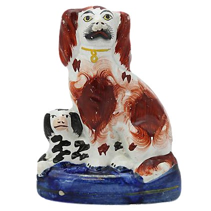 Antique Staffordshire King Charles & Pup - Image 1 of 3