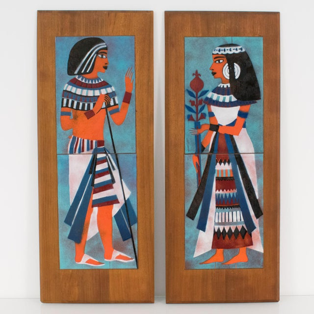 Stunning Mid-Century Modernist enamel on copper artwork by Judith Daner. A lovely pair of decorative panels featuring two...