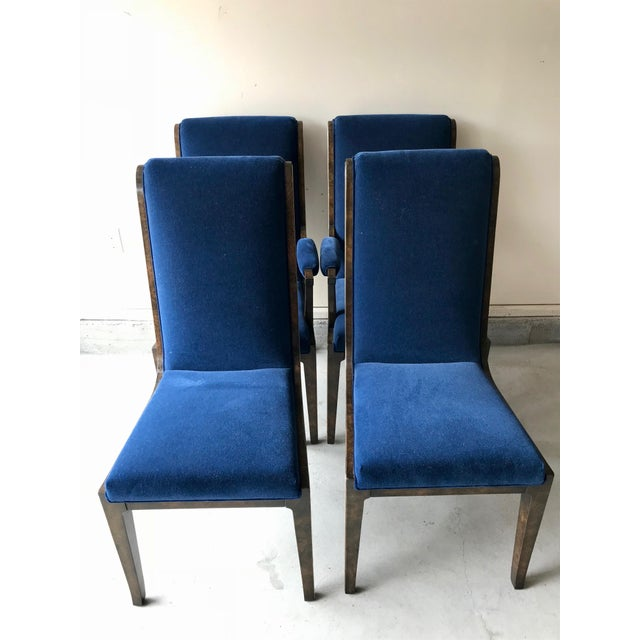 Mid-Century Modern Blue Velvet Dining Chairs - Set of 4 For Sale - Image 11 of 11