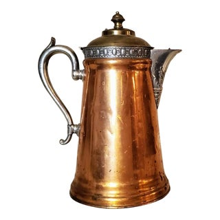 19th Century American Copper & Pewter Coffee Pot by Manning Bowman & Co. For Sale