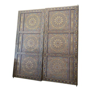 Moroccan Style Hand Painted Double Doors - a Pair For Sale