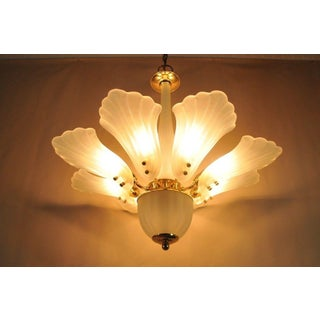 Vintage Modern Italian Brass Frosted & Glass Leaf Chandelier Preview