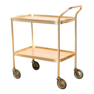 Gold Tone Modernist Serving Trolley / Bar Cart