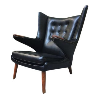 Hans Wegner Papa Bear Chair W/ Black Naugahyde & Exposed Nail Head Trim For Sale