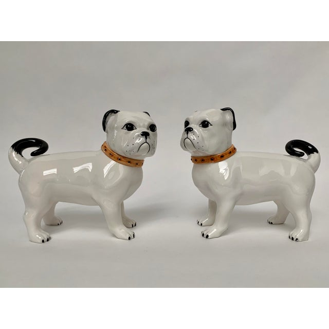 Large Italian Ceramic Pug Puppy Dog Figures - a Pair For Sale - Image 12 of 12